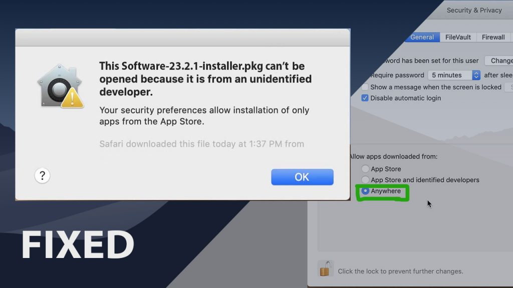 "Can't be opened because it is from an unidentified developer [Fixed] – Allow Apps from ""Anywhere"" in MacOS"