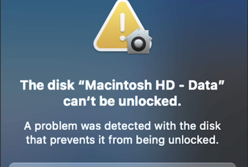 The Disk Macintosh HD – Data Can't be Unlocked Fixed 2021